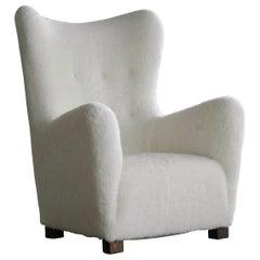 Fritz Hansen Model 1672 Lambswool Covered High Back Lounge Chair Danish, 1940s