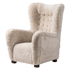 Fritz Hansen Model 1672 Sheepskin Wing Chair, circa 1940s