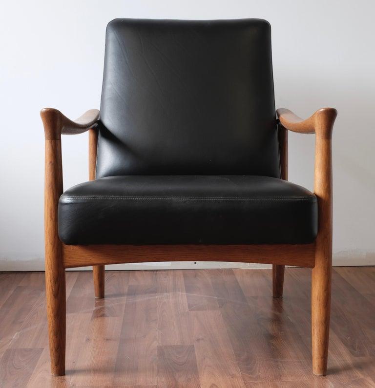 Danish Fritz Hansen Oak Armchair with Black Leather For Sale