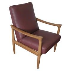 Fritz Hansen Oak Armchair with Burgundy Upholstery