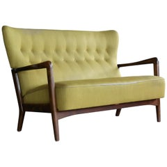 Fritz Hansen Open Arm Settee or Two-Seat Sofa Danish Midcentury
