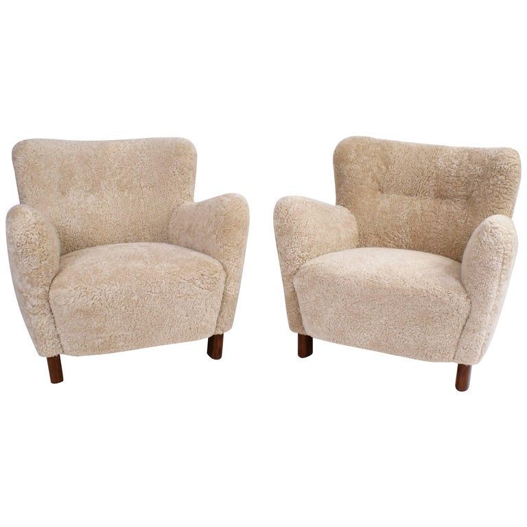Fritz Hansen Pair of Easy Chairs, Model 1669, 1930s For Sale