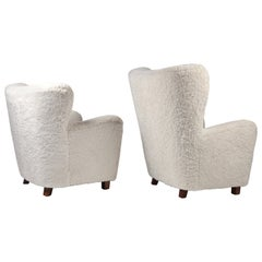 Fritz Hansen, Pair of High & Low Back Wing Chair in Shearling, Denmark, 1940s