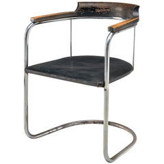 Fritz Hansen Patinated 'S125' Tubular Steel Armchair, 1934