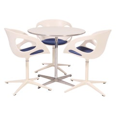 Fritz Hansen Round White Table and Set of 3 White Rin Dining Chairs