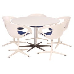 Fritz Hansen Round White Table and Set of 5 White Rin Dining Chairs