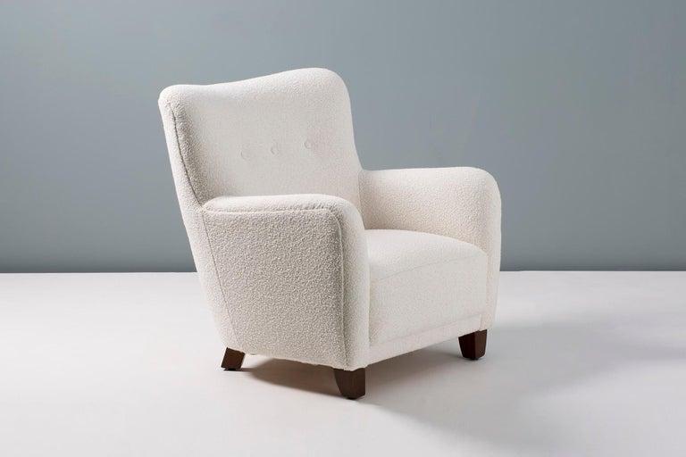 Danish Fritz Hansen Style 1940s Boucle Armchair For Sale