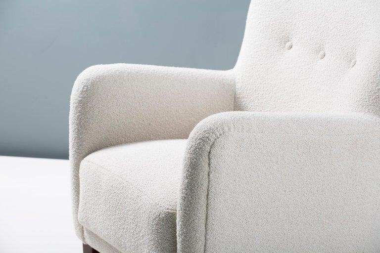 Fritz Hansen Style 1940s Boucle Armchair For Sale 1