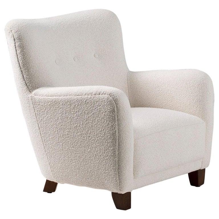 Fritz Hansen Style 1940s Boucle Armchair For Sale