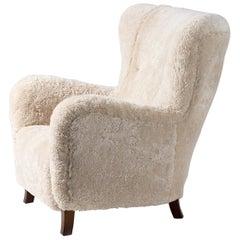Fritz Hansen Style 1940s Sheepskin Wing Chair