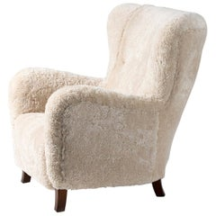 Fritz Hansen Style 1940s Sheepskin Wing Chair