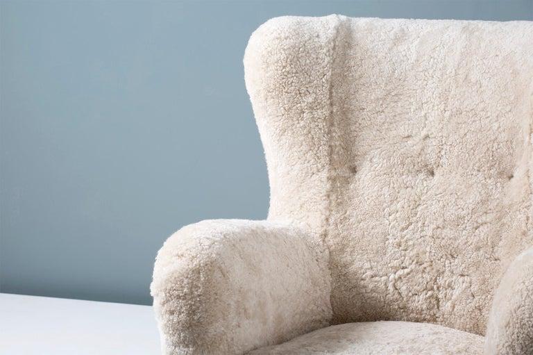 Scandinavian Modern Fritz Hansen Style 1940s Sheepskin Wing Chairs For Sale