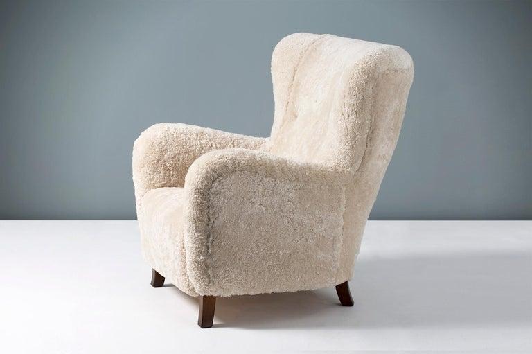 Danish Fritz Hansen Style 1940s Sheepskin Wing Chairs For Sale