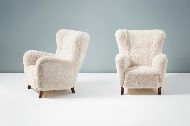 Mid-20th Century Fritz Hansen Style 1940s Sheepskin Wing Chairs For Sale