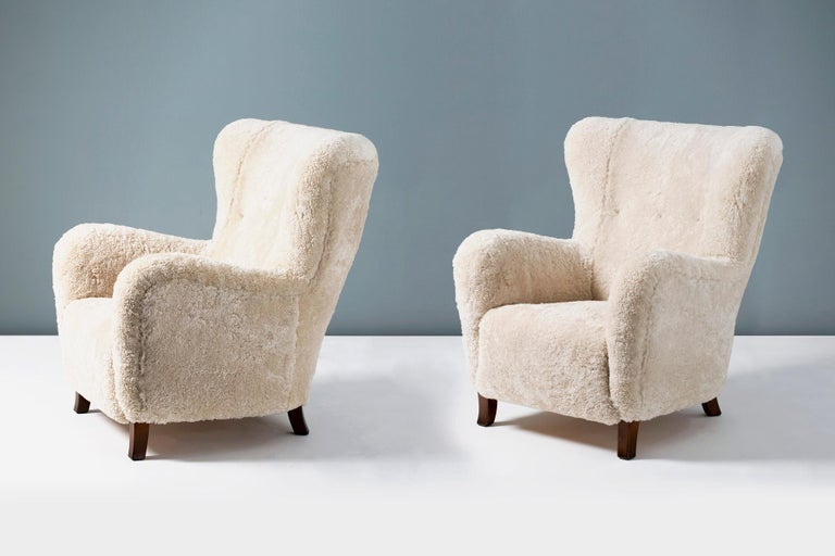 Fritz Hansen Style 1940s Sheepskin Wing Chairs For Sale 1