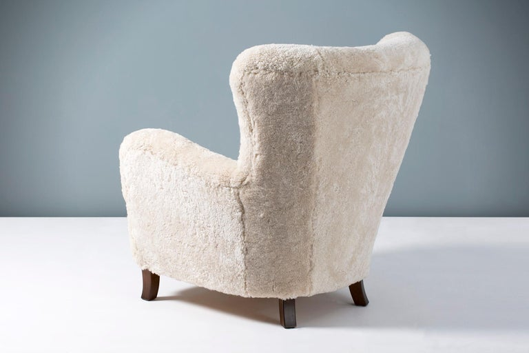 Fritz Hansen Style 1940s Sheepskin Wing Chairs For Sale 3