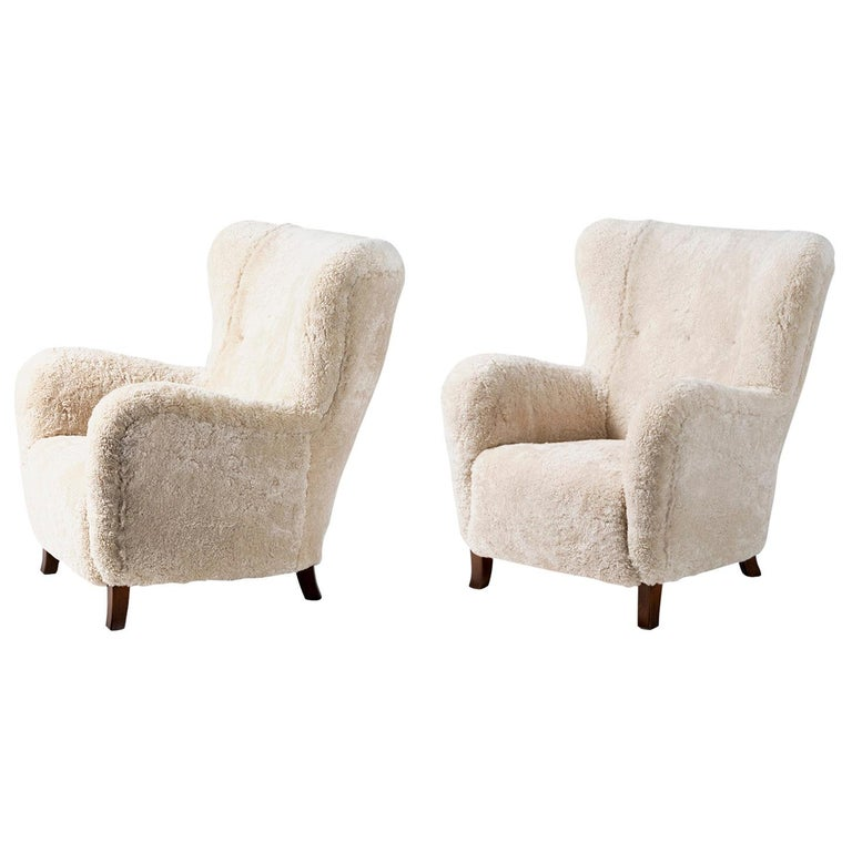 Fritz Hansen Style 1940s Sheepskin Wing Chairs For Sale