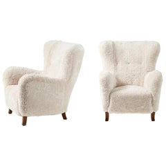 Fritz Hansen Style 1940s Sheepskin Wing Chairs