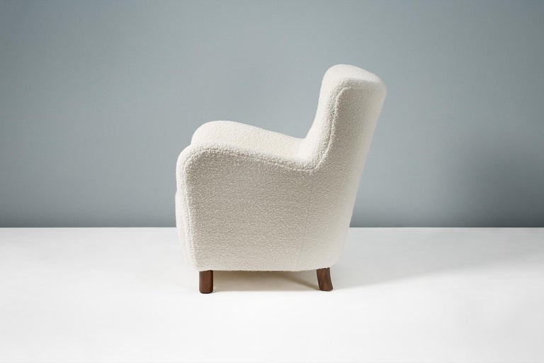 Scandinavian Modern Fritz Hansen Style Reproduction 1950s Boucle Armchair For Sale