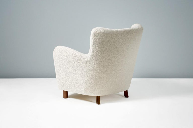 British Fritz Hansen Style Reproduction 1950s Boucle Armchair For Sale