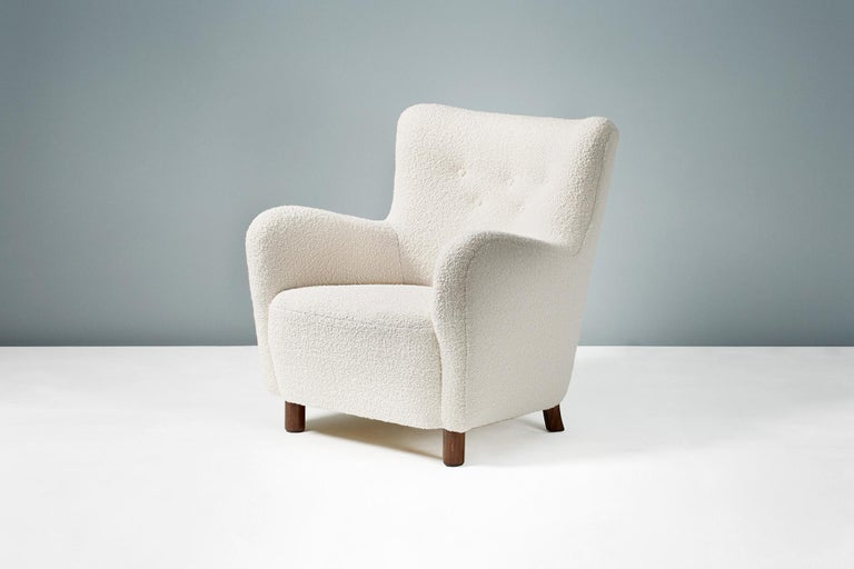 Fritz Hansen Style Reproduction 1950s Boucle Armchair In Excellent Condition For Sale In London, GB