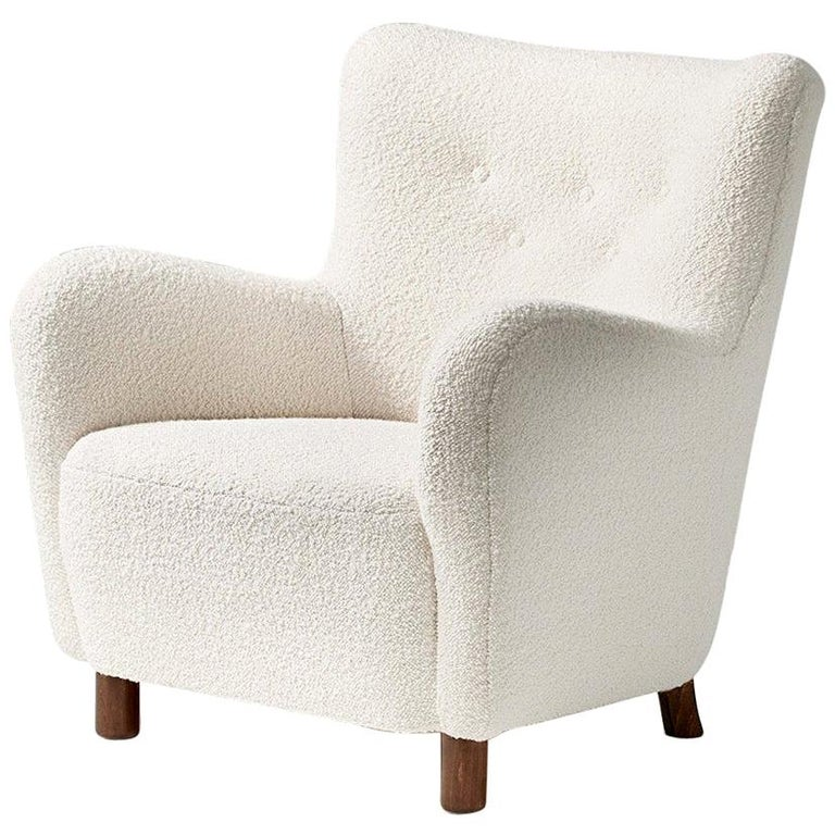 Fritz Hansen Style Reproduction 1950s Boucle Armchair For Sale