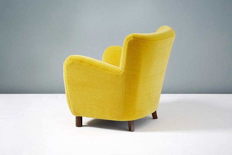 Fritz Hansen Style 1950s Mohair Velvet Armchair For Sale 5