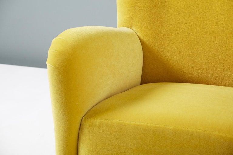 Fritz Hansen Style 1950s Mohair Velvet Armchair For Sale 6