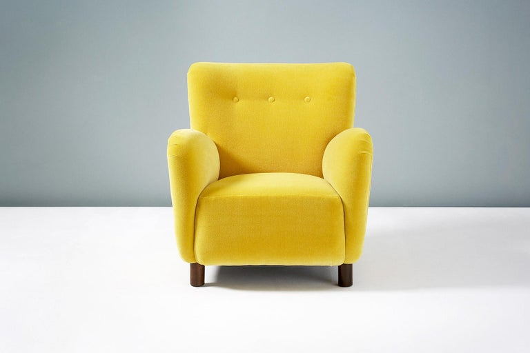 Custom-Made 'Model 54' Armchair  Fritz Hansen inspired lounge chair with solid hardwood frame, stained beech legs and 'Saffron' yellow mohair Velvet by Pierre Frey, Paris. These chairs are handmade to order at our workshops in London. Other