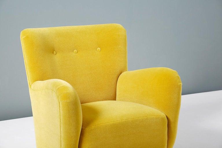 Scandinavian Modern Fritz Hansen Style 1950s Mohair Velvet Armchair For Sale