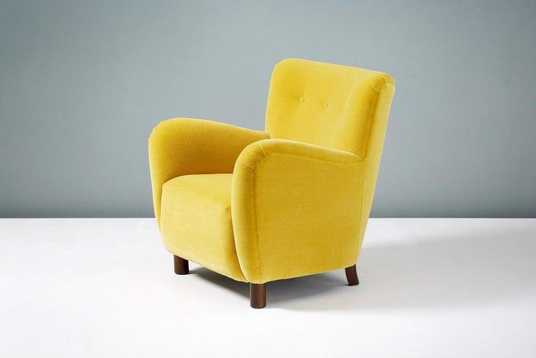 British Fritz Hansen Style 1950s Mohair Velvet Armchair For Sale