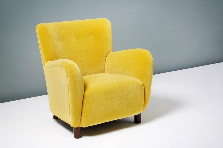 Fritz Hansen Style 1950s Mohair Velvet Armchair For Sale 1