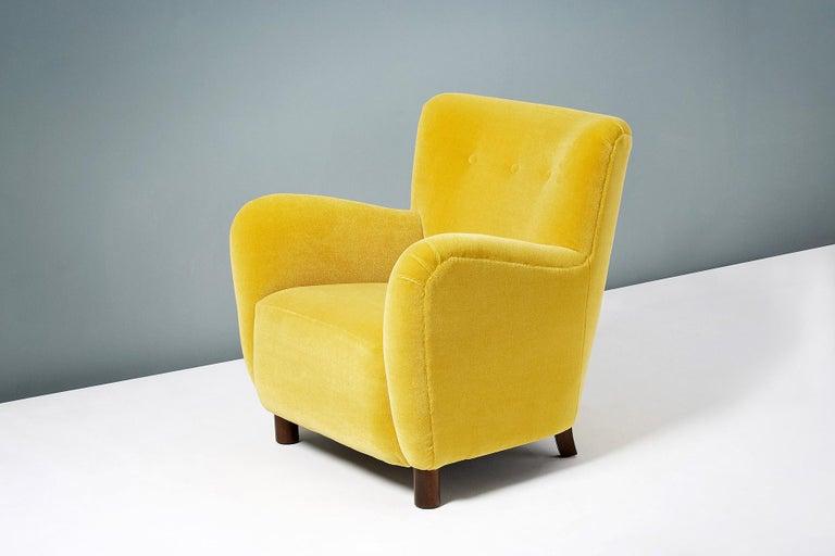 Fritz Hansen Style 1950s Mohair Velvet Armchair For Sale 2