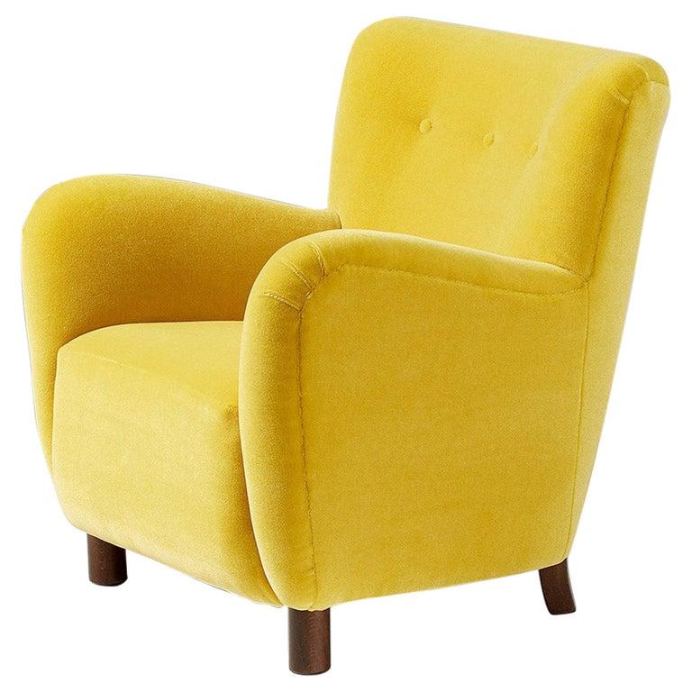 Fritz Hansen Style 1950s Mohair Velvet Armchair For Sale