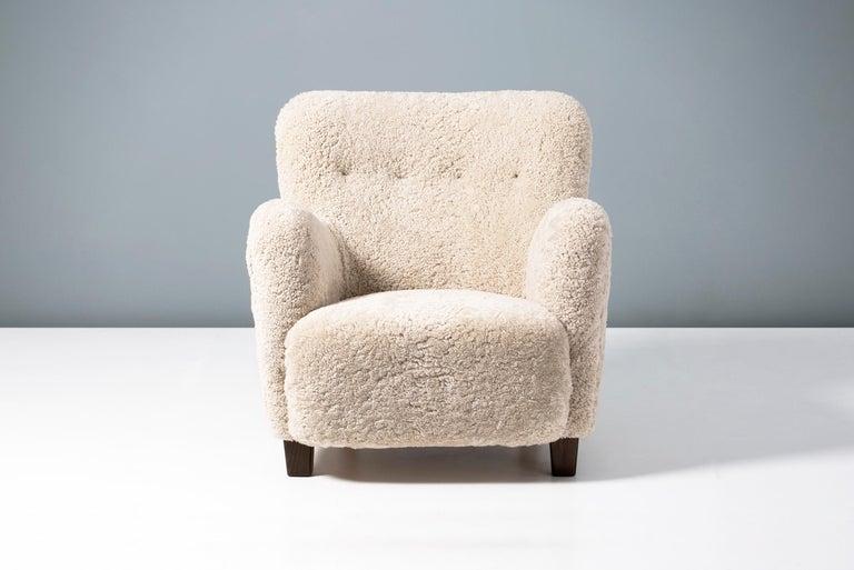 Scandinavian Modern Fritz Hansen-Style 1950s Sheepskin Armchair