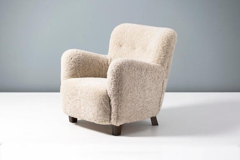 Mid-20th Century Fritz Hansen-Style 1950s Sheepskin Armchair