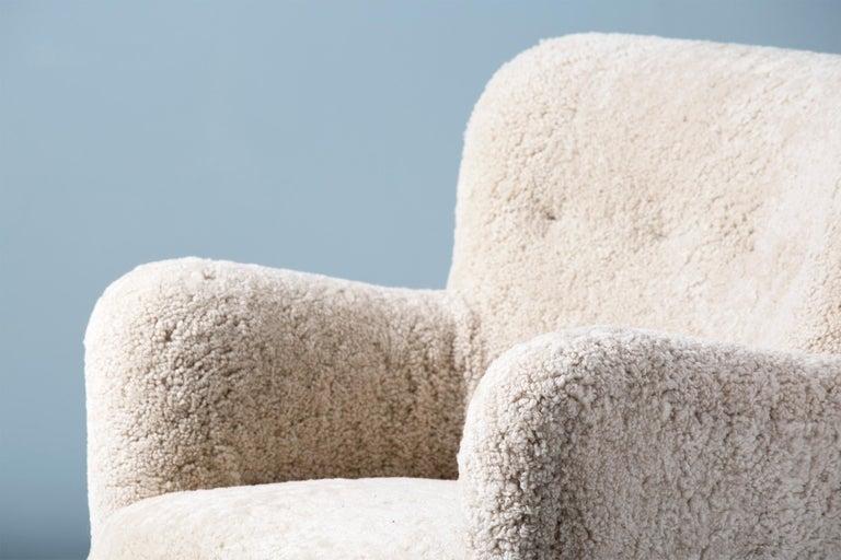 Fritz Hansen-Style 1950s Sheepskin Armchair 2