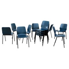 Fritz Hansen Style Blue Stained Wingback Stacking Chairs