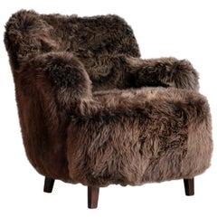 Fritz Hansen Style Danish 1950s Lounge Chair Covered in Icelandic Sheepskin