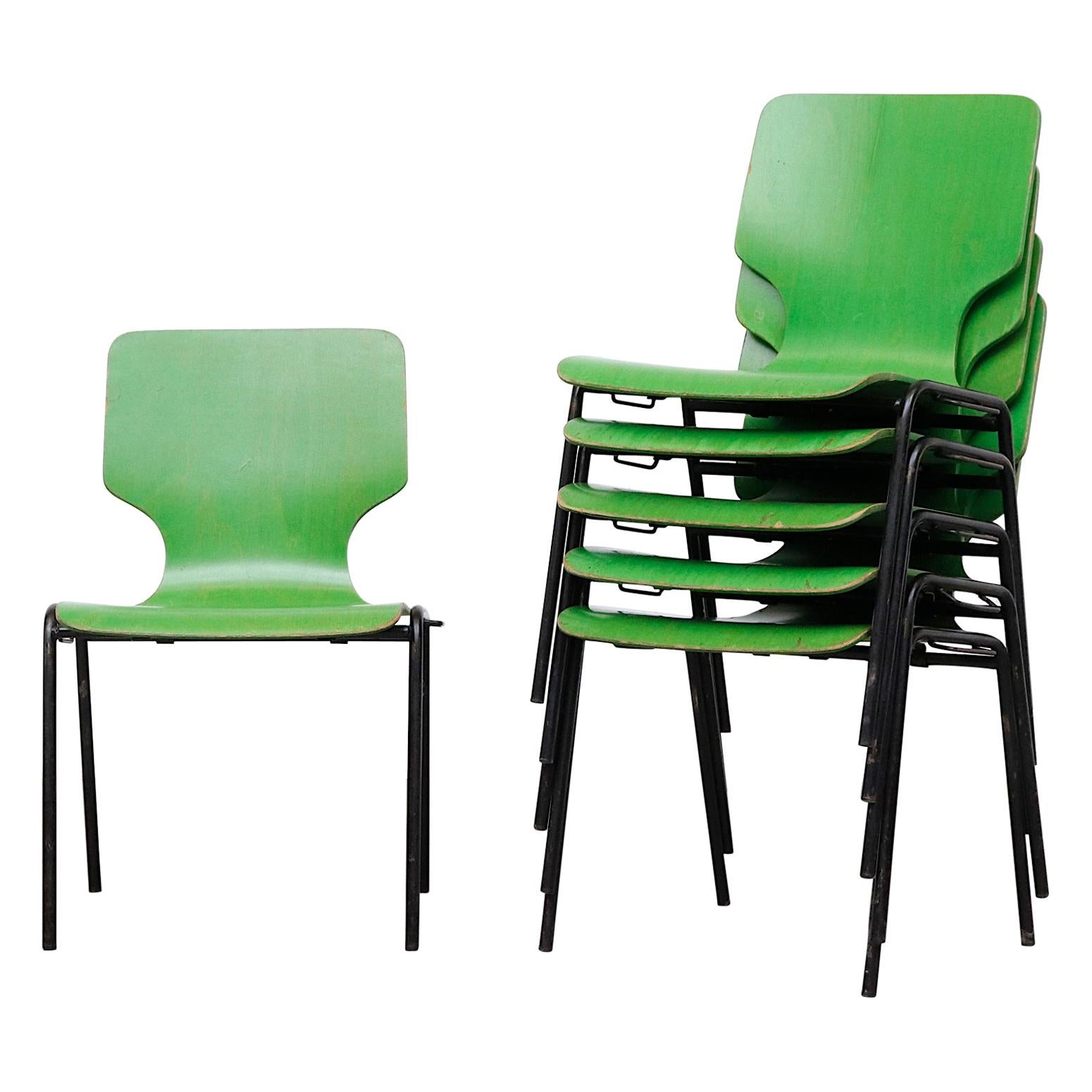 Fritz Hansen Style Green Stained Wingback Stacking Dining Chairs