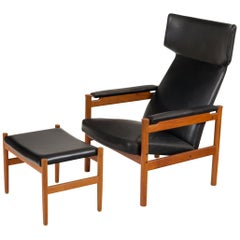 Fritz Hansen Teak Wing Chair and Ottoman by Soren Hansen, Denmark 1960s