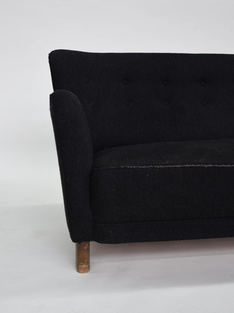 Mid-Century Modern Fritz Hansen Three-Seat Sofa, Model 1669A Couch 3-Seat Black For Sale