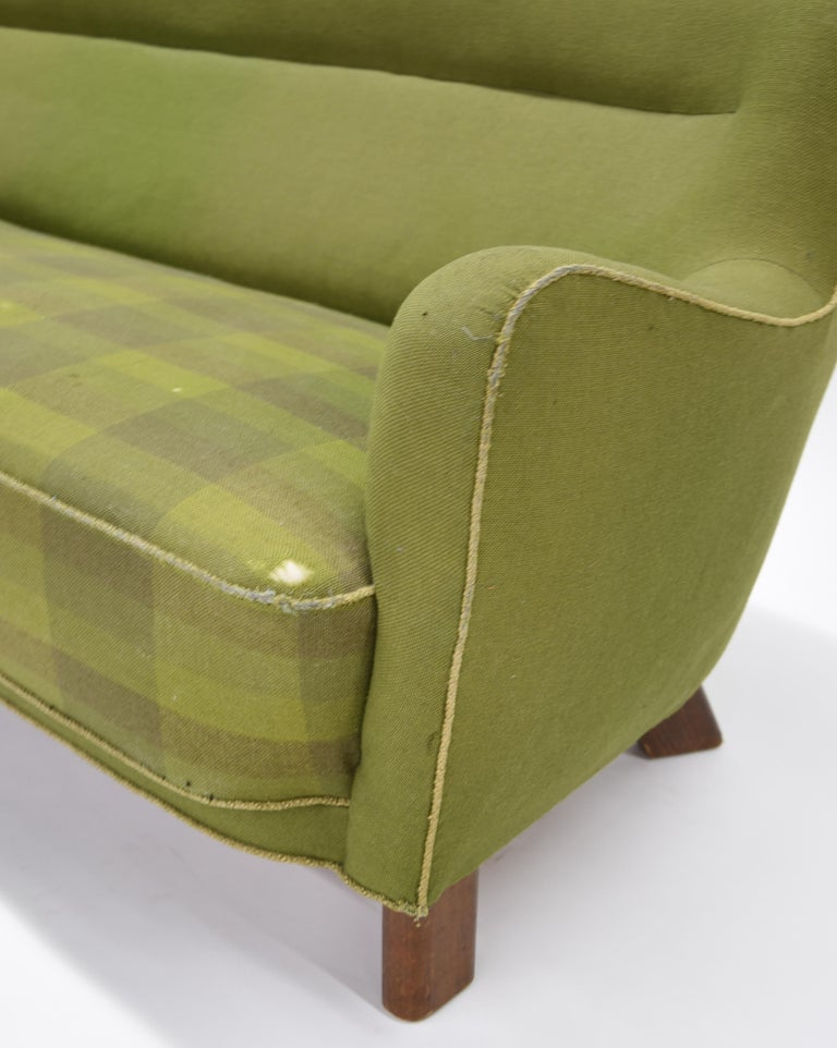 Danish Fritz Hansen Three-Seat Sofa Green Model 1669a / 4468 For Sale