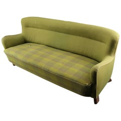 Fritz Hansen Three-Seat Sofa Green Model 1669a / 4468