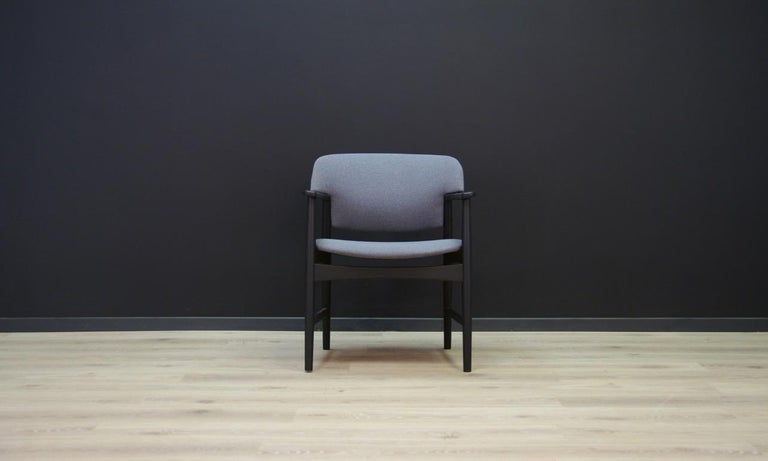 Classic armchair from the 1960s-1970s - Minimalist form - Scandinavian design from the Fritz Hansen manufactory. Oak construction, new upholstery (color - gray). Preserved in good condition (small bruises and scratches on a wooden structure) -