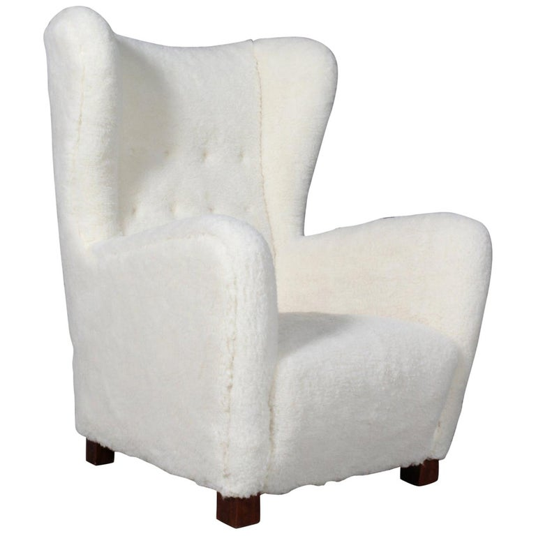 Fritz Hansen, Wingback Chair Lambwool, 1940s, Model 1672 For Sale