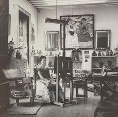 Frida in Her Studio (Black & White) Silver Gelatin Photograph