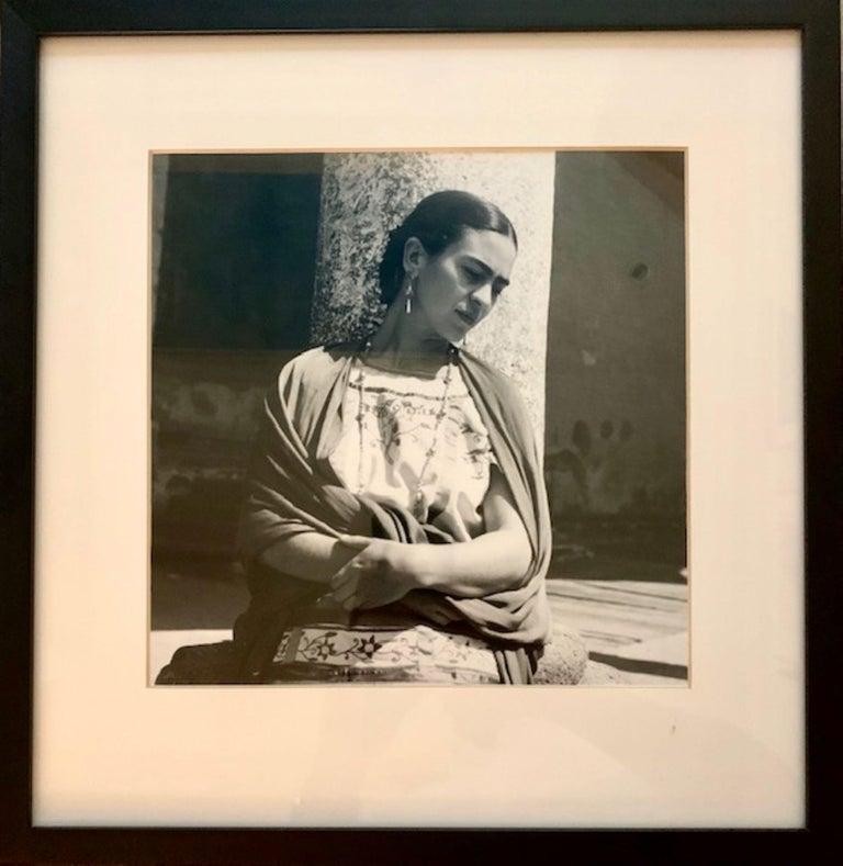 Frida Kahlo Outside the Church, Modern Photograph - Black Portrait Photograph by Fritz Henle