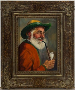 Fritz Muller (1913-1972) - Signed Mid 20th Century Oil, Gentleman Smoking a Pipe