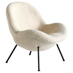 Fritz Neth Egg Shaped Lounge Chair in Ivory Dedar Bouclé, Correcta Kassel, 1950s